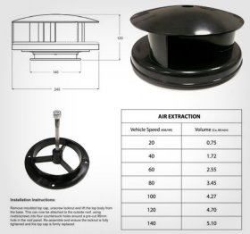 AVT Rotating Van Roof Vent Air Extractor Ventilator BLACK