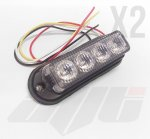2 x Amber 4 LED Grill or Side Light Module 12v / 24v