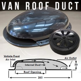AVT Van Roof Vent Air Extractor Duct BLACK With Internal Shutoff