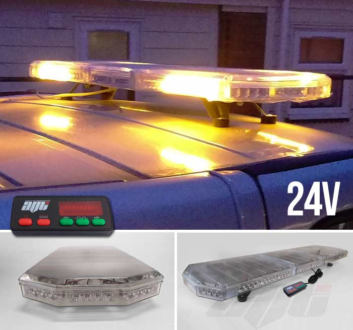 "AVT 1200mm / 48"" LED 24v Amber Strobe Recovery Light Bar"