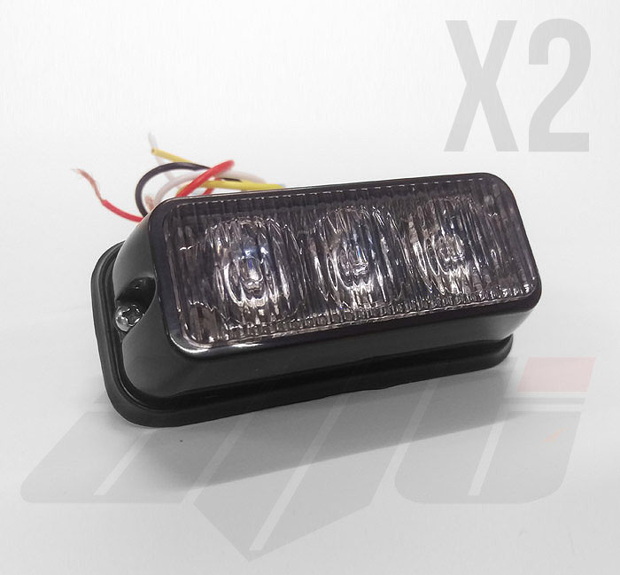 2 x Amber 3 LED Grille or Side Light Module 12v / 24v